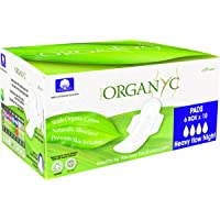 Organyc 100% Organic Cotton Pads With Wings for Sensitive Skin, Heavy, 60 unidades