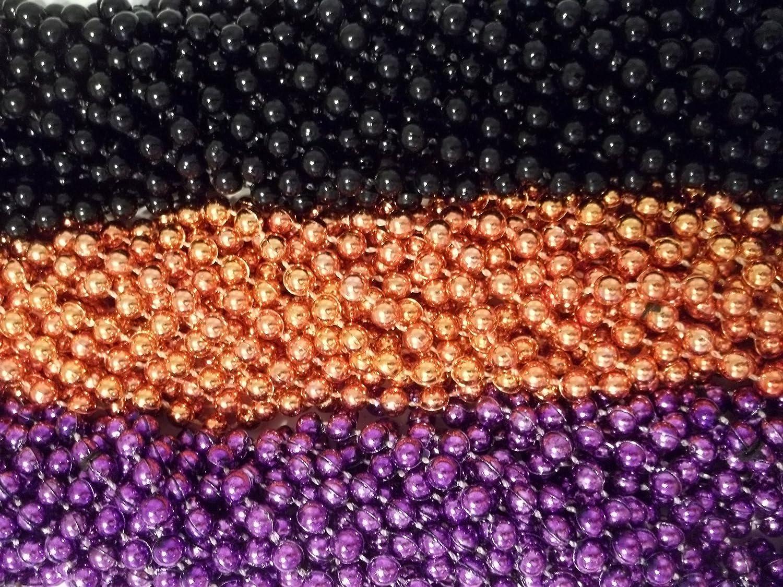 36 Halloween Treats Mardi Gras Beads Purple Black Orange Necklaces MGMB