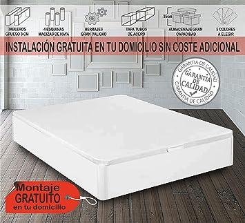 Ferlex Maximo Canape INSTALACION Gratuita EN TU Domicilio 150X190 Abatible Madera Canape Tapizado Tapa 3D Canape (Todas Medidas y Colores) (150_x_190_cm, ...