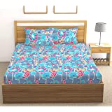 Fab Theory Pan Leaf 104 TC 100% Cotton Double Bedsheet with 2 Pillow Covers, Royal Blue