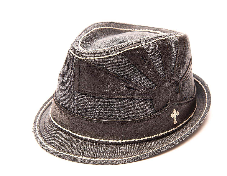 bbfc35fdfba027 Denim Men's Fedora Hat Navy Blue White Stitching Leather Trim Steel Cross  at Amazon Men's Clothing store: