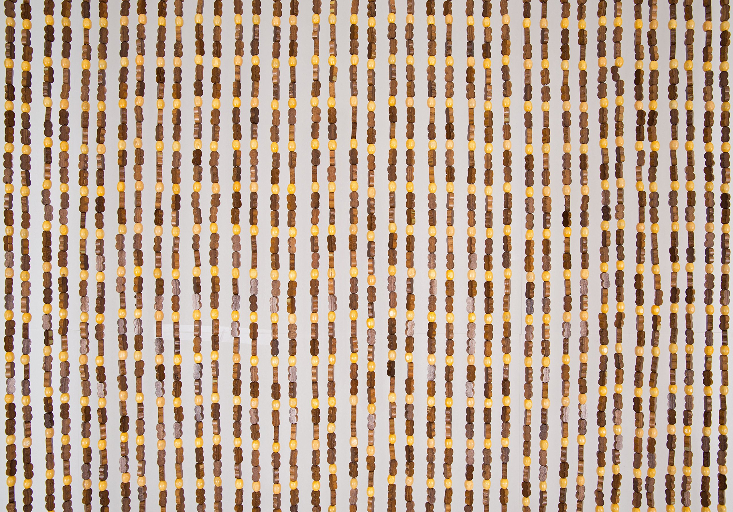 BeadedString Natural Wood and Bamboo Beaded Curtain-45 Strands-77 High-Plain Design-Bamboo and Wooden Doorway Beads-Boho Bohemian Curtain-35.5'' W x 77'' H-SunshineBr by BeadedString (Image #6)