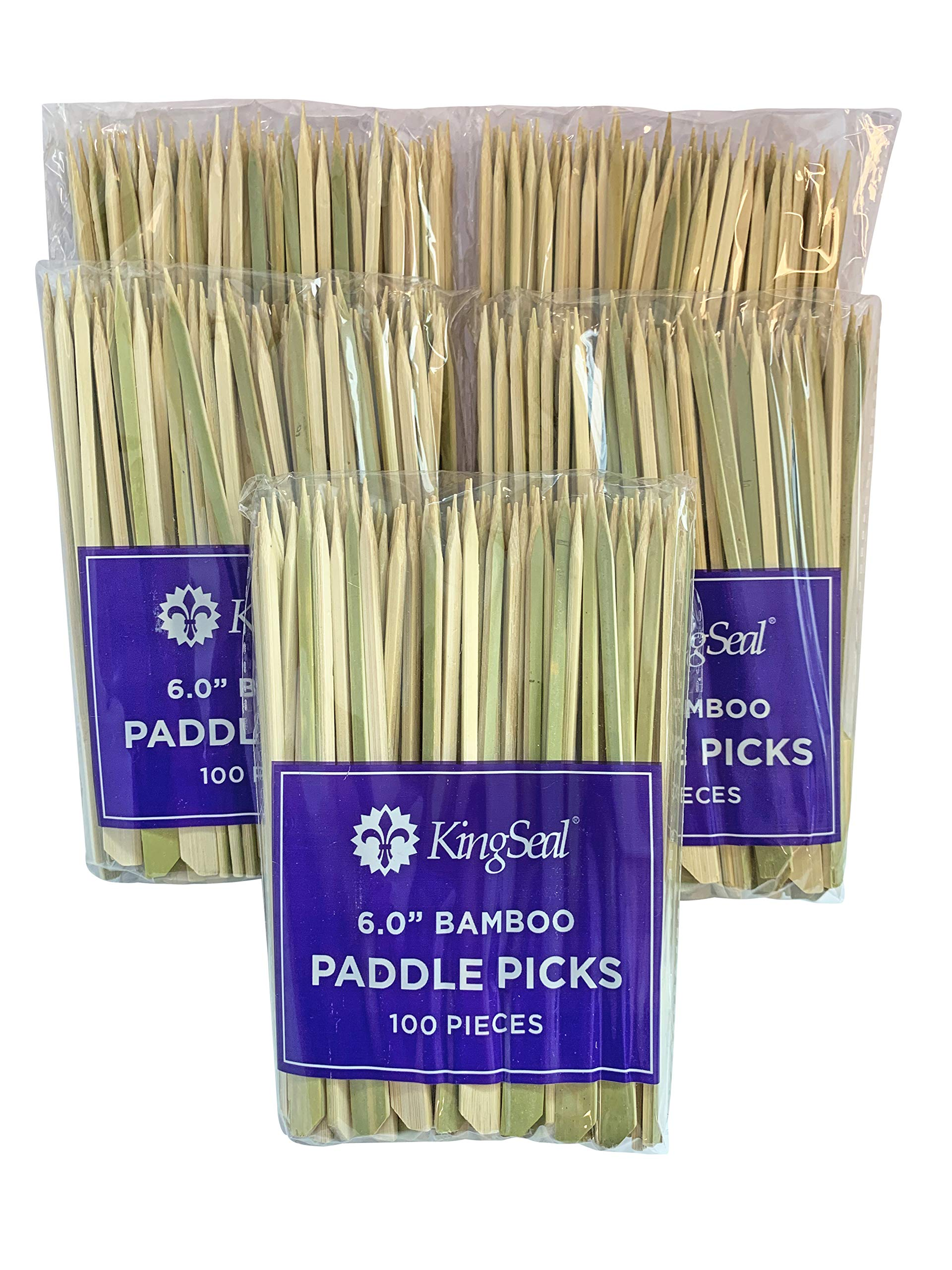 KingSeal Natural Green Bamboo Wood Paddle Picks, Skewers for Appetizers and Cocktails, 6.0 Inches - 10 Packs of 100 Per Pack