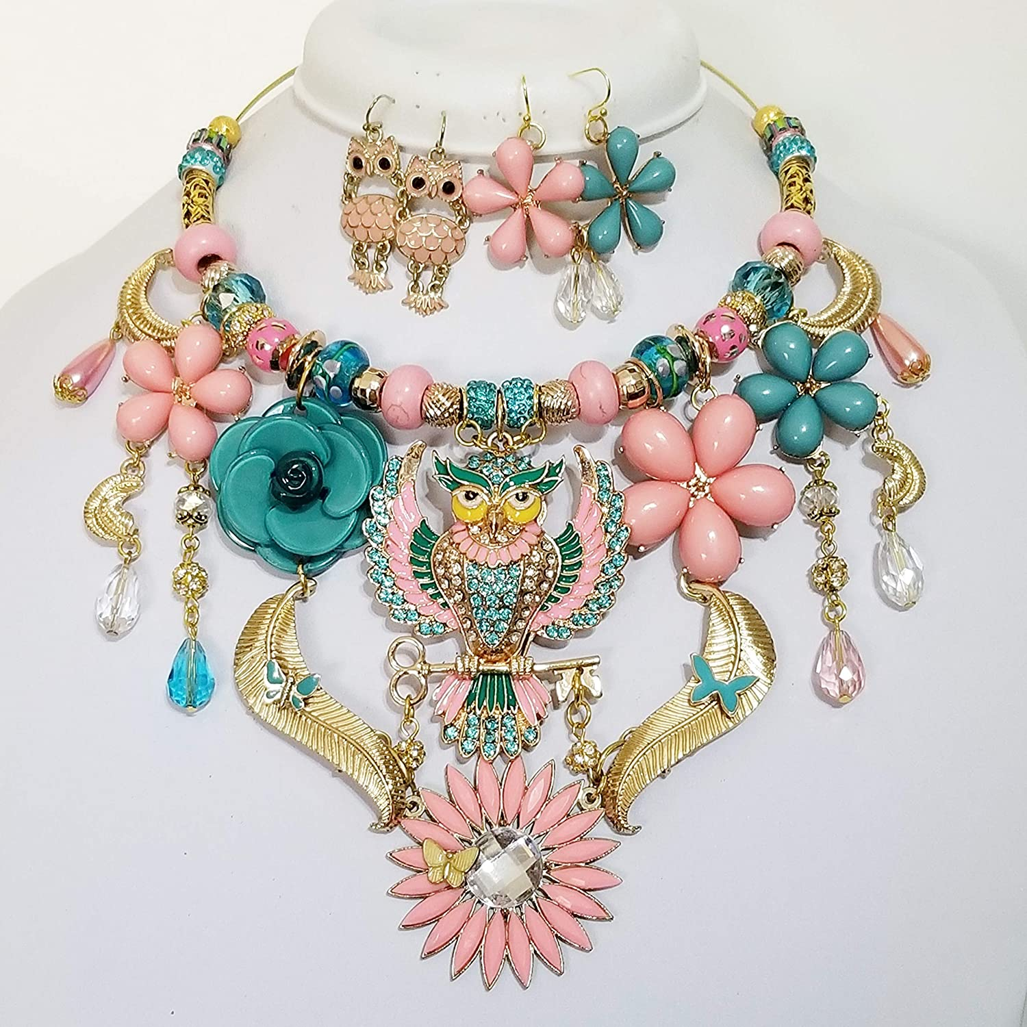 """AB CRYSTAL OWL NECKLACE 24/"""""""