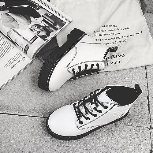 Mei&S La Mujer Chunky Talón Inferior Grueso Martin Short Botas Botines Zapatos,Blanco,40