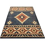 Nevita Collection Southwestern Native American Design Area Rug Southwest Design Rugs Geometric South West Pattern (Blue…