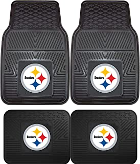 product image for NFL Pittsburgh Steelers Car Floor Mats Heavy Duty 4-Piece Vinyl - Front and Rear