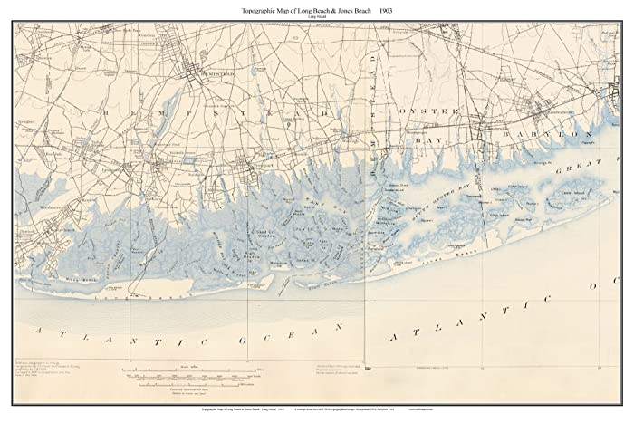 Topographic Map Long Island.Amazon Com Long Beach To Jones Beach 1903 Topo Map Long Island New
