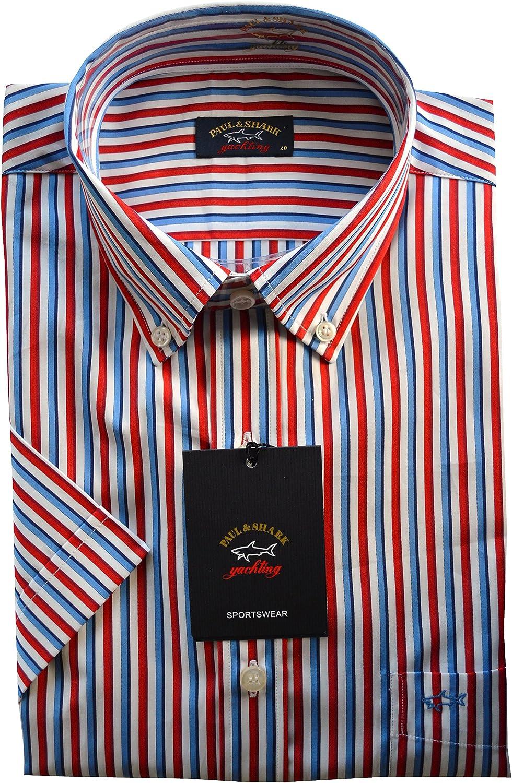 Paul & Shark - Camisa casual - con botones - para hombre azul Red, Blue, White Large: Amazon.es: Ropa y accesorios
