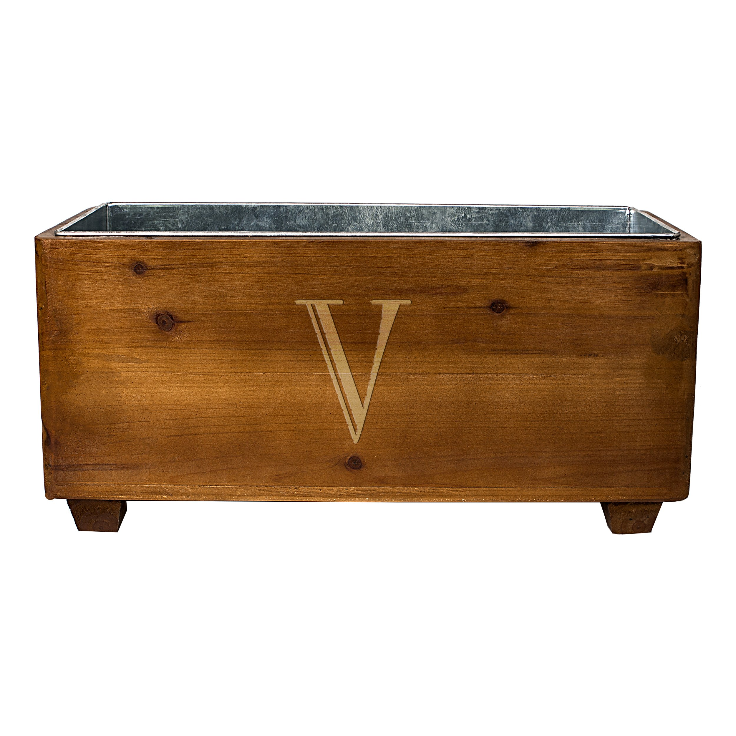 Cathy's Concepts Personalized Wooden Wine Trough, Letter V