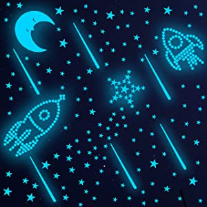 808 Pcs Glow in Dark Stars and Wall Decal, Glowing Moon Meteors for Ceiling and Wall Decor, Best Gift for Kids Bedding Room Nursery Room Baby Shower and Home Decoration Party Birthday -(Sky Blue)