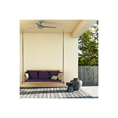 Hunter 59262 Contemporary Modern 52 Ceiling Fan from Cassius Collection in Pwt, Nckl, B S, Slvr. Finish, Matte Silver