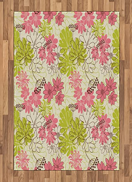 Amazon Com Ambesonne Floral Area Rug Hand Drawn Pastel Petals In