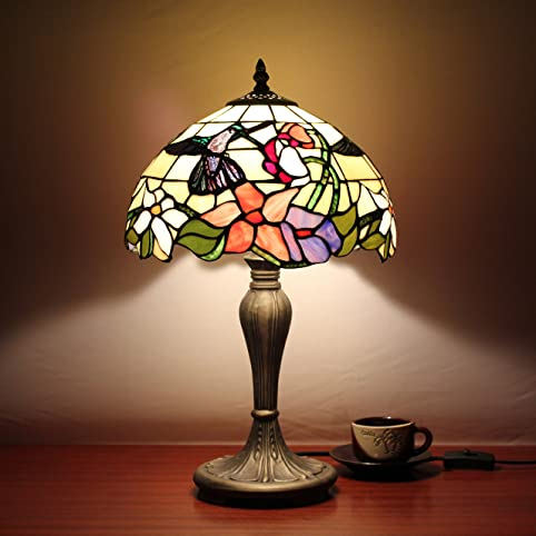 SINCERE 12 Inch Vintage Pastoral Hummingbird With Flowers Stained Glass Tiffany Table Lamp Bedroom