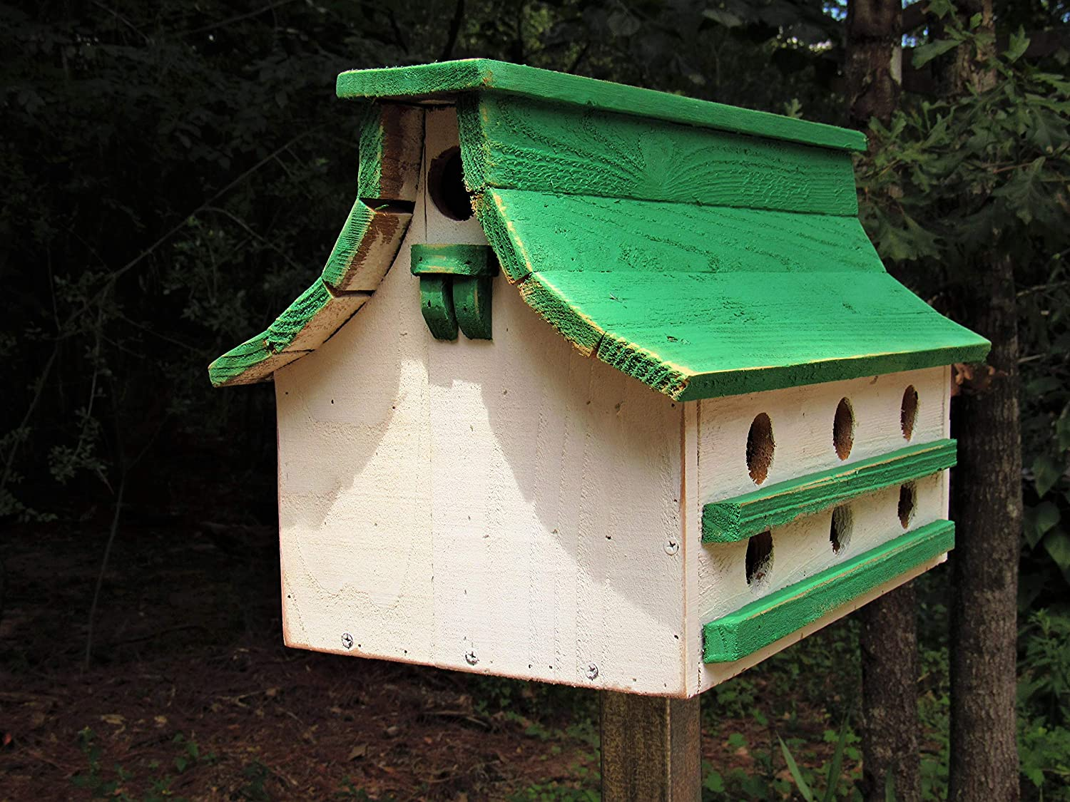 Purple Martin distressed green and white bird house, Handmade in Texas with reclaimed cedar! no pole included. farmhousefurnituretx