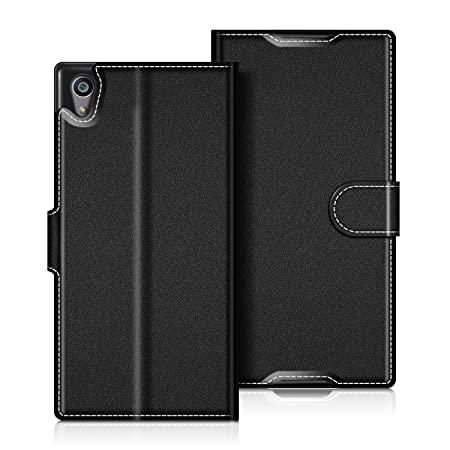 coodio Sony Xperia Z5 Hülle Leder Lederhülle Ledertasche Wallet Handyhülle Tasche Schutzhülle mit Magnetverschluss/Kartenfäch