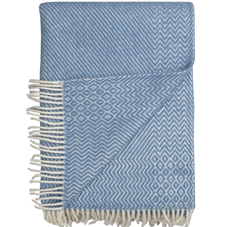 Roros Tweed Plaids – finewool Überwurf mit Fransen  Lavendel (220 cm x 140 cm)