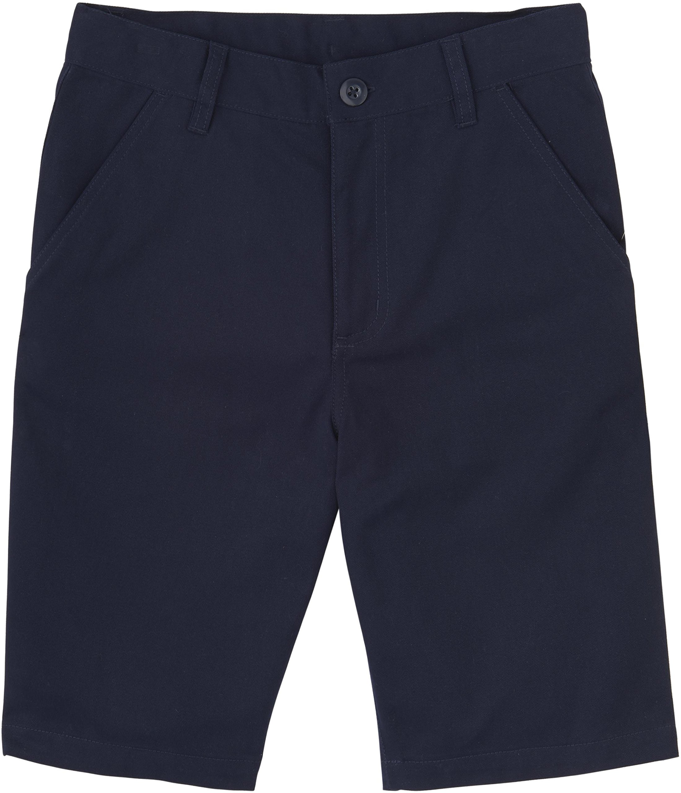 French Toast School Uniforms Boys Solid Twill Flat Front Shorts, Navy, 6