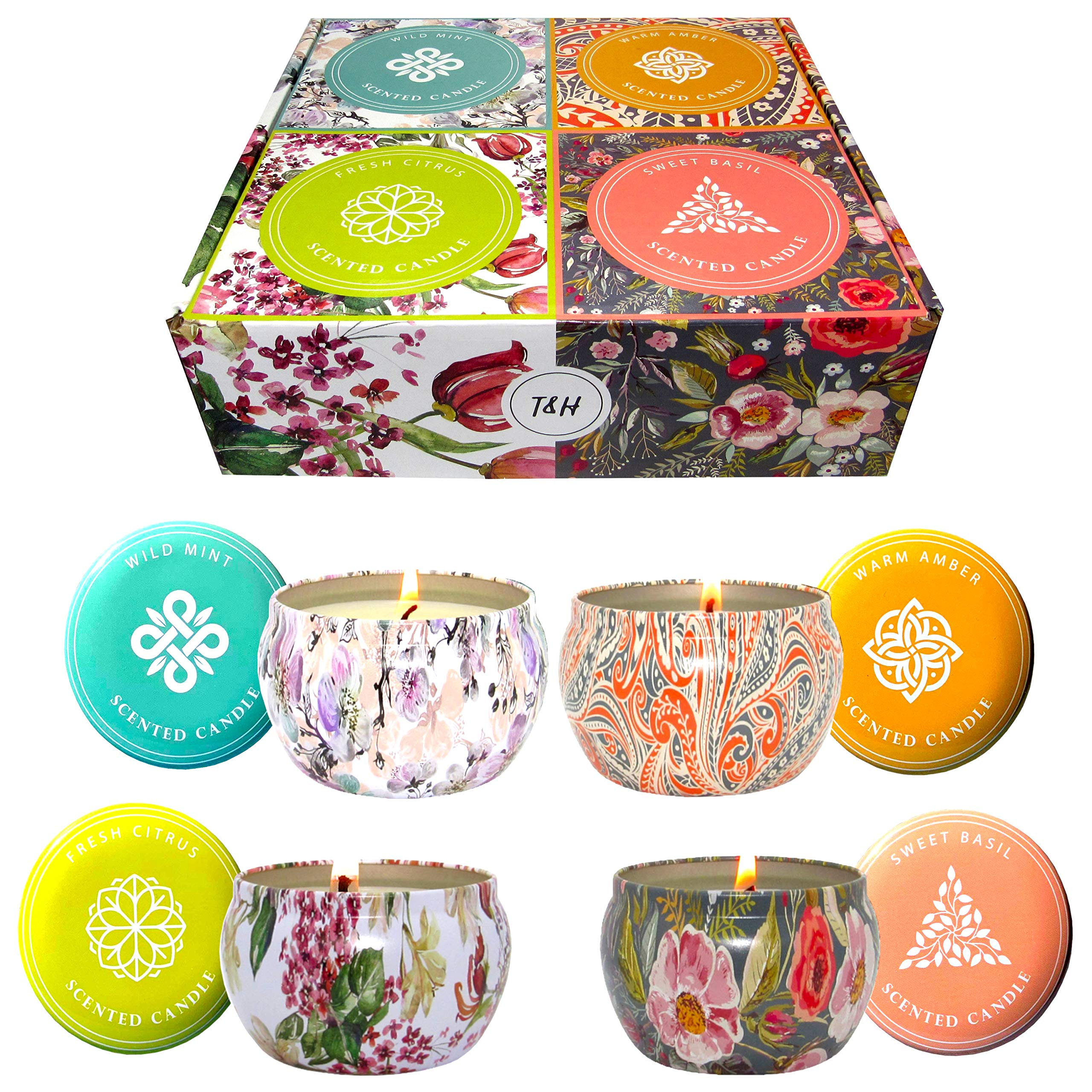 Big Aromatherapy Scented Candles Essential Oils Natural Soy Wax Portable Travel Tin Candle Set of 4 Gift Huge 6 Ounce tins 140 Hour Burn Long Lasting Fresh Citrus, Warm Amber, Wild Mint, Sweet Basil by T&H