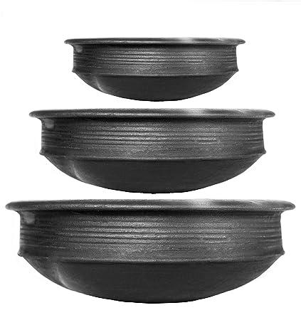 Craftsman India online Pottery Earthen Kadai/Clay Pots Combo for Cooking Pre-Seasoned (Black, 1,…