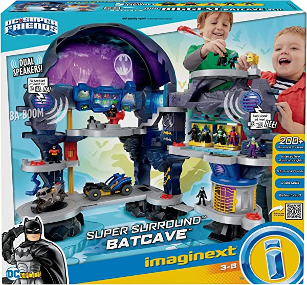 Fisher-Price Imaginext DC Super Friends Super Surround Batcave playset for kids in package