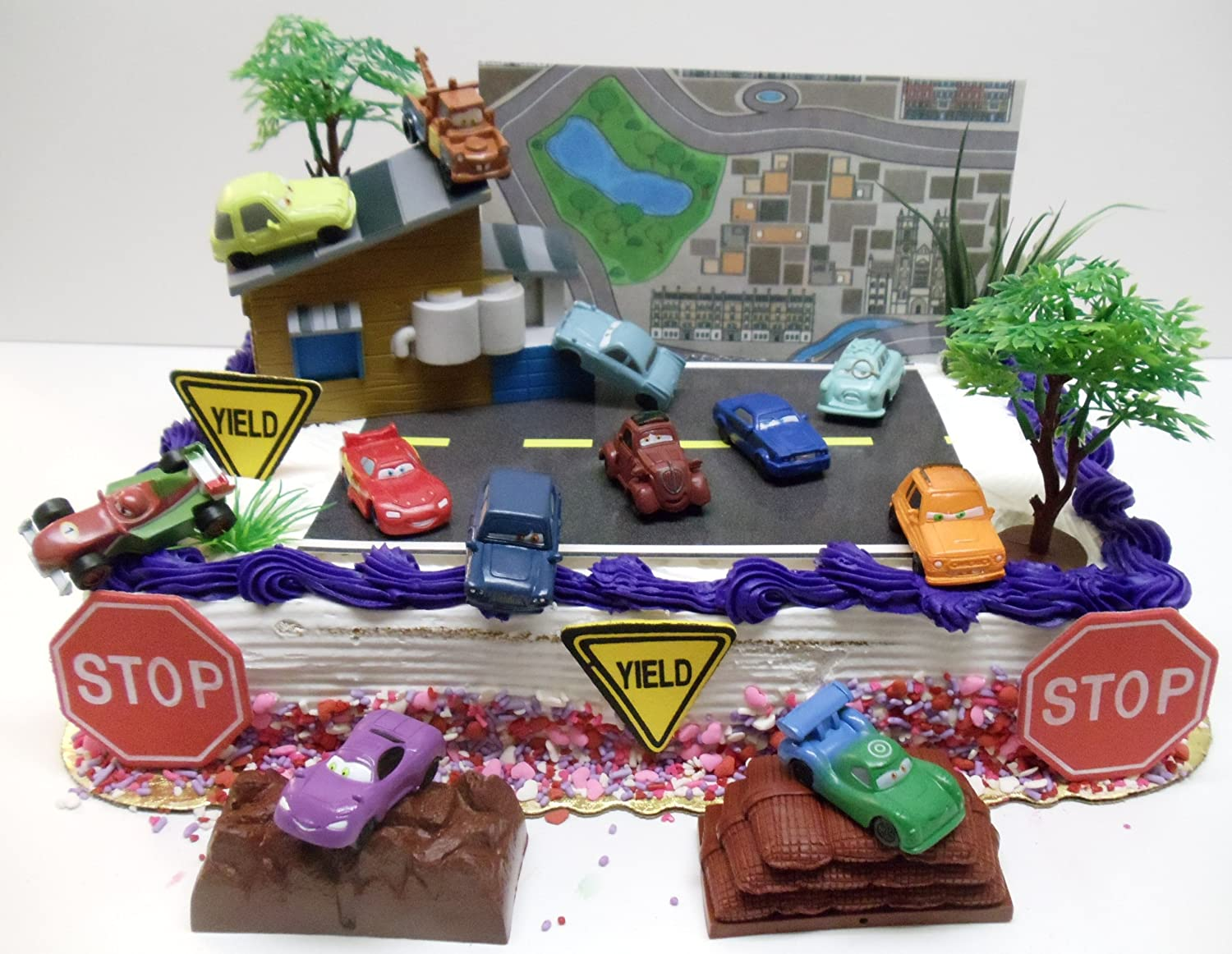 Amazoncom Cars  Birthday Cake Topper Set Featuring  Cake - Birthday cake cars 2