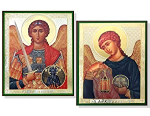 Set of 2 Archangel Saint St Michael and Gabriel Wood Russian Icons 6 1/4 Inch