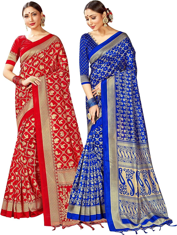 Elina fashion Pack of Two Sarees for Women Mysore Art Silk Printed Indian Wedding Saree || Diwali Gift Combo