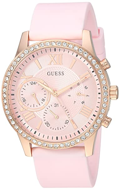 35c077967323 GUESS Women s Quartz Stainless Steel and Silicone Casual Watch ...