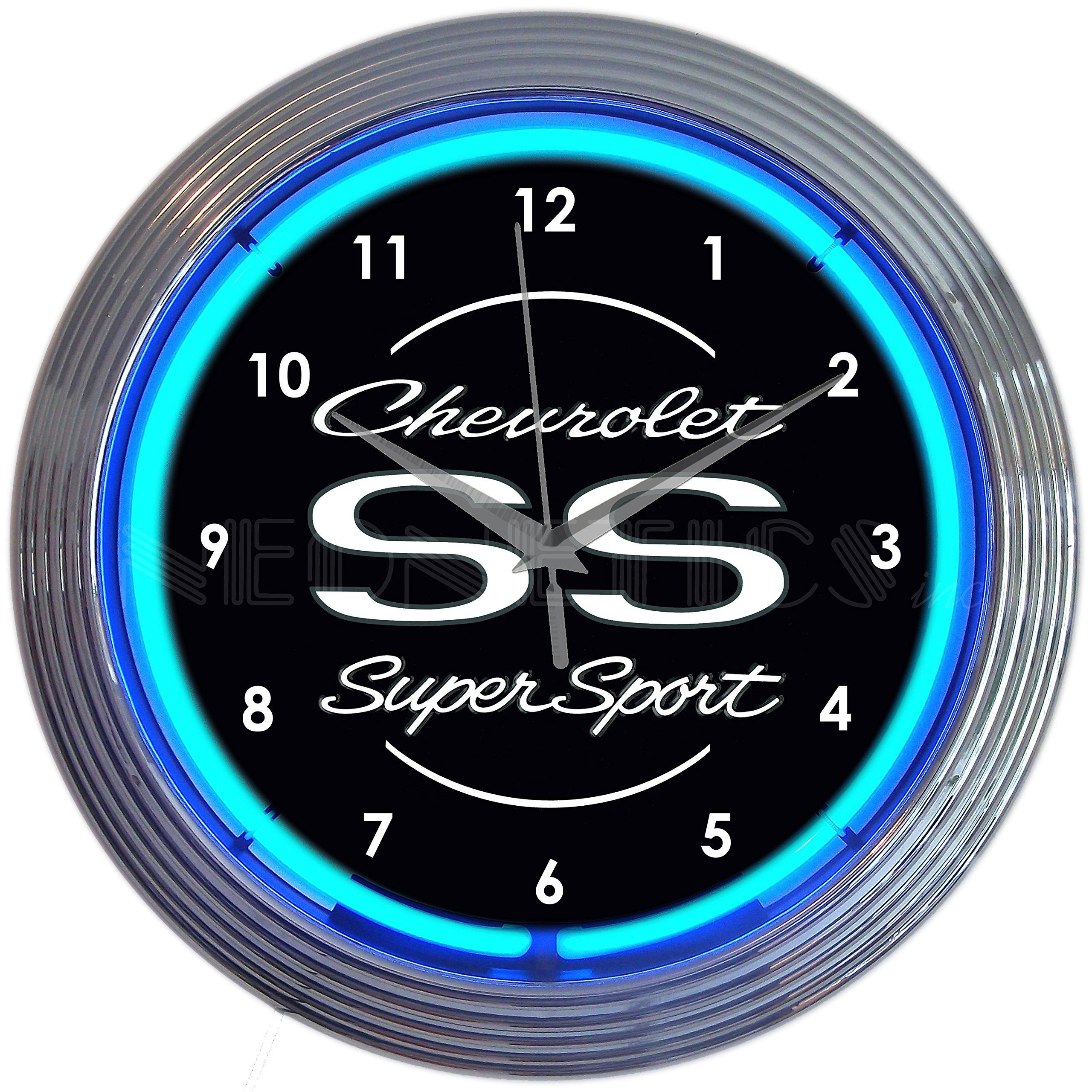 Neonetics 8CHVSS Chevrolet Chevy SS Super Sport Clock 15 Inch Diameter with Blue Neon
