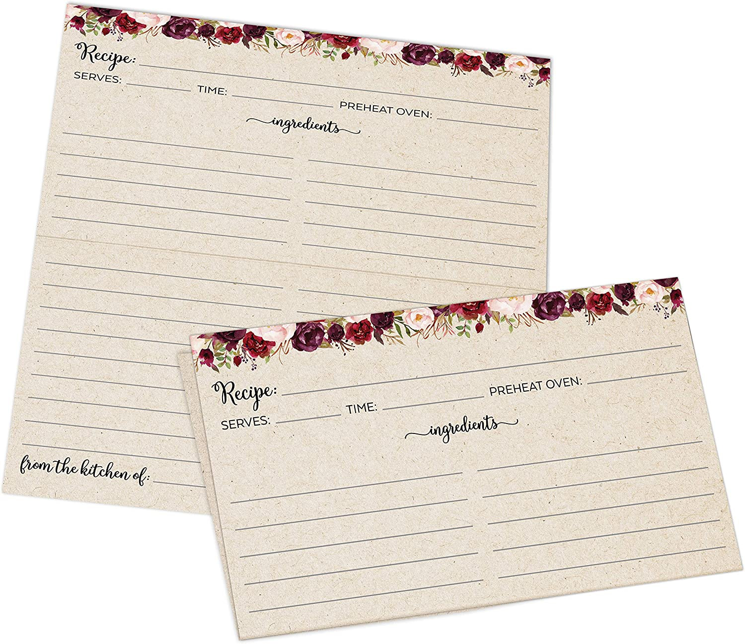 321Done Folding Recipe Cards (Set of 50) Rustic Kraft Tan Floral Roses, From the Kitchen Of - Folds to 3x5 from 6x5 - Retro Vintage Wedding Baby Bridal Shower Gift Party - Made in USA - Double-Sided