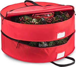 "Double Premium Christmas Wreath Storage Bag 30"", With Compartment Organizers For Christmas Garlands & Durable Handles, Protect Artificial Wreaths - Holiday Xmas Bag Made of Tear Proof 600D Oxford"