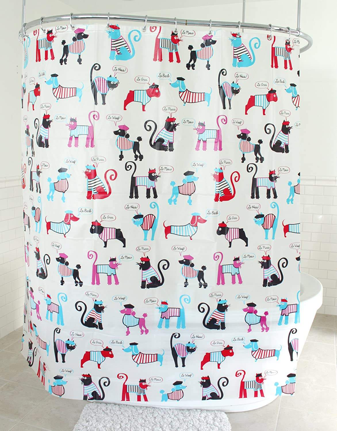 Splash Home French Dogs and Cats Shower Curtain