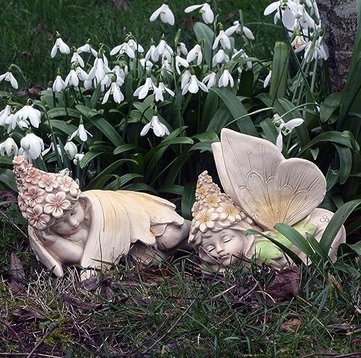 FHFY Garden Hada de Flores, Adorno de jardín, gnomo, Hada de jardín, Troll, Imp, Set of 2 Sleeping: Amazon.es: Jardín