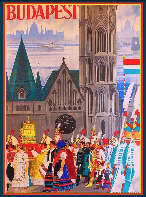 Hungary Hungarian Hongrie European Europe Vintage Travel Advertisement Poster