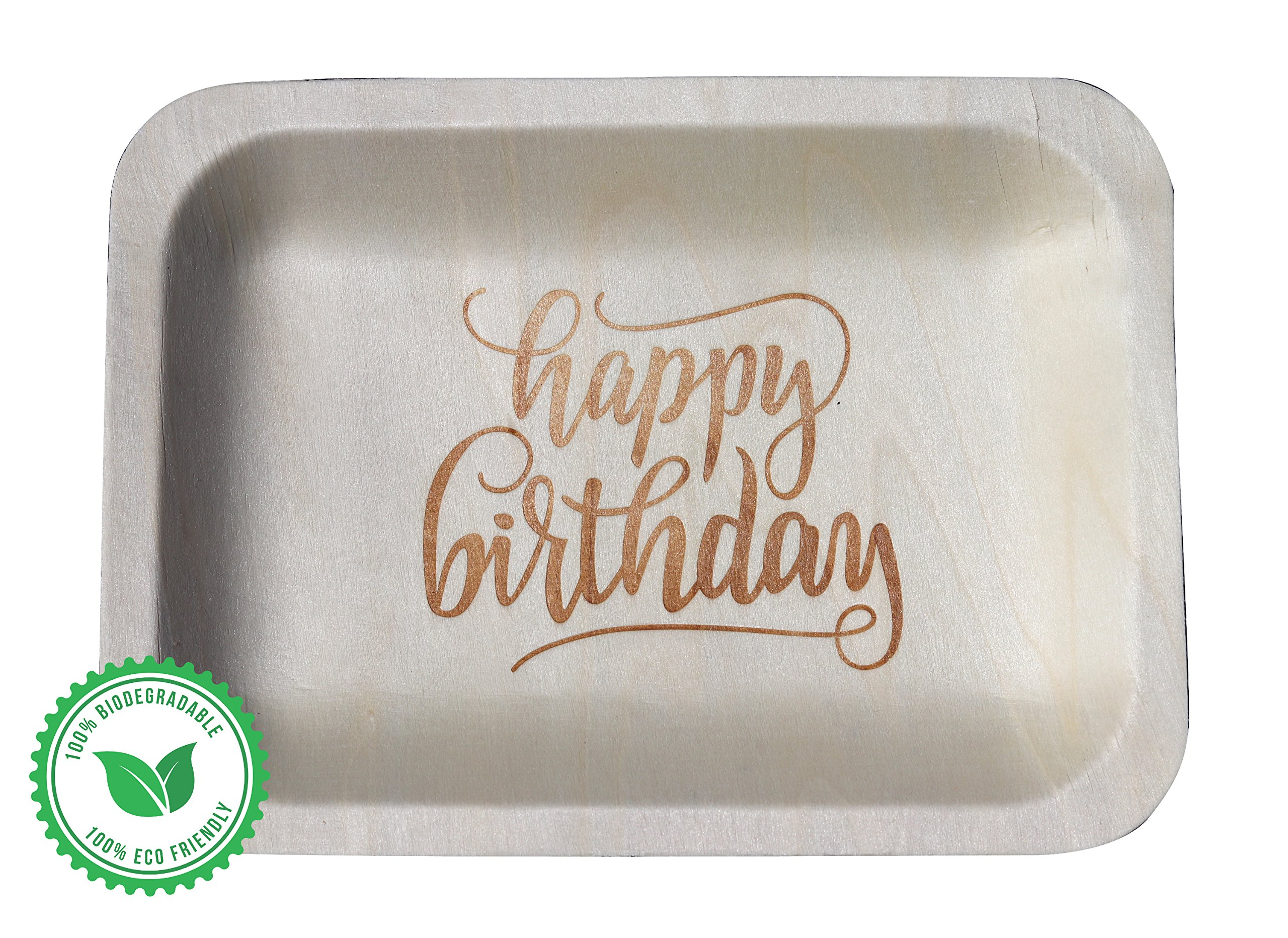 ''Happy Birthday'' StatementWare Disposable Birthday Plates (50-pack)—100% Natural and Eco-Friendly, Elegant Alternative to Happy Birthday Plates, Plastic Party Plates, and Cake Plates (7.5'' x 5.5'')