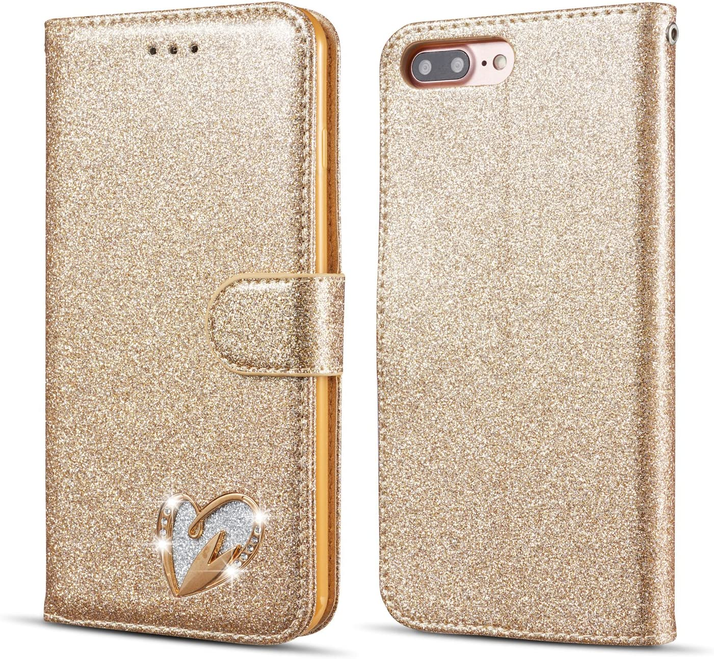 QLTYPRI iPhone 5S Case iPhone SE Case Wallet Case Bling Shiny Glitter Flip Folio Case Full-Body Protective Cover Card Slots Magnetic Closure Kickstand Wrist Strap for Women Girls - Gold