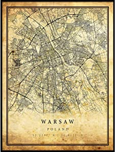 Warsaw map Vintage Style Poster Print | Old City Artwork Prints | Antique Style Home Decor | Poland Wall Art Gift | Old map Wall Art 8.5x11