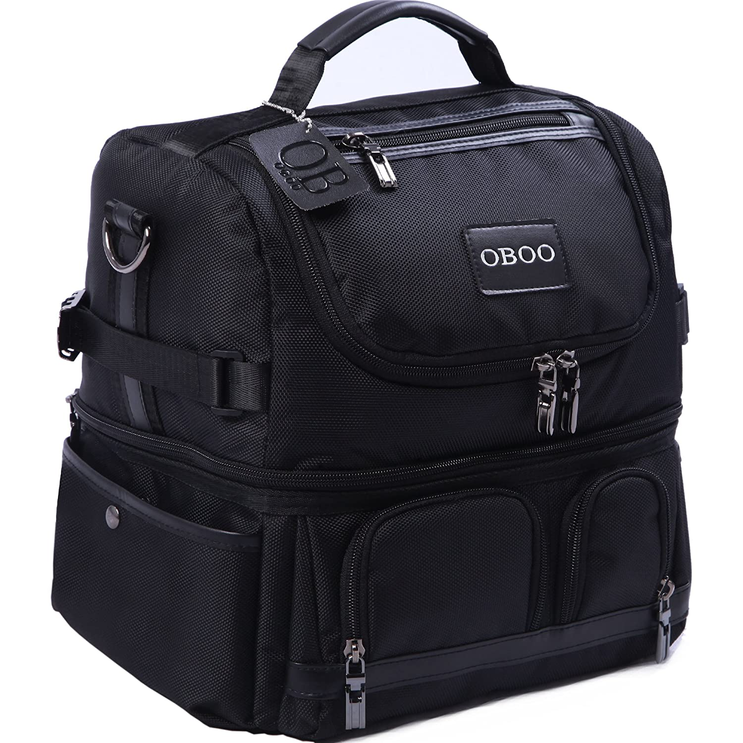 OBOO Adult Lunch Box Insulated Lunch Bag,Double Reusable Waterproof Large Cooler Tote with Shoulder Strap for Men&Women(black, 12can) Dream Bear Trade Co. Ltd