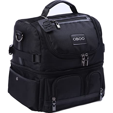 1c249448f672 OBOO Adult Lunch Box Insulated Lunch Bag,Double Reusable Waterproof Large  Cooler Tote with Shoulder Strap for Men&Women(black, 12can)
