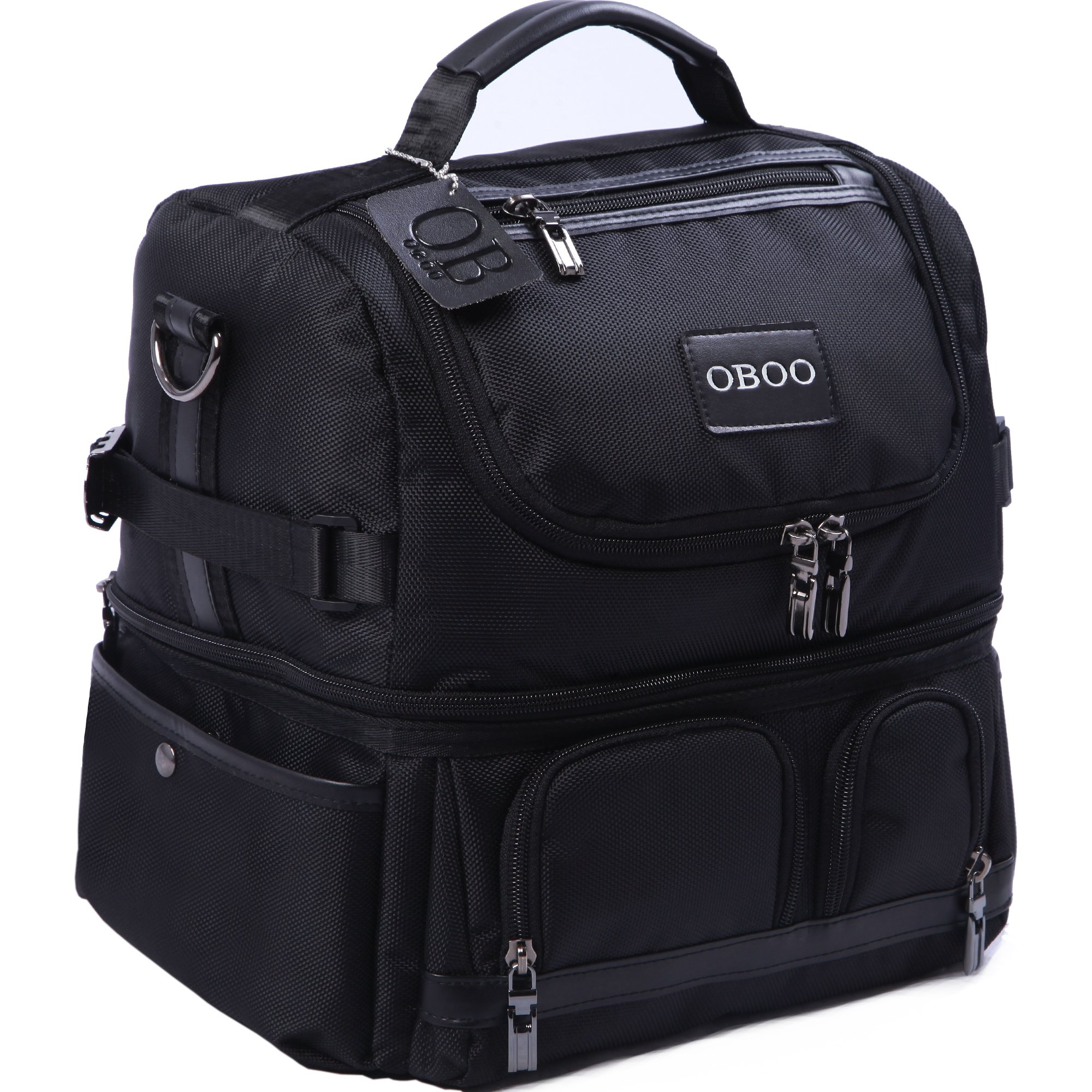 OBOO Adult Lunch Box Insulated Lunch Bag,Double Reusable Waterproof Large Cooler Tote with Shoulder Strap for Men&Women(black, 12can)
