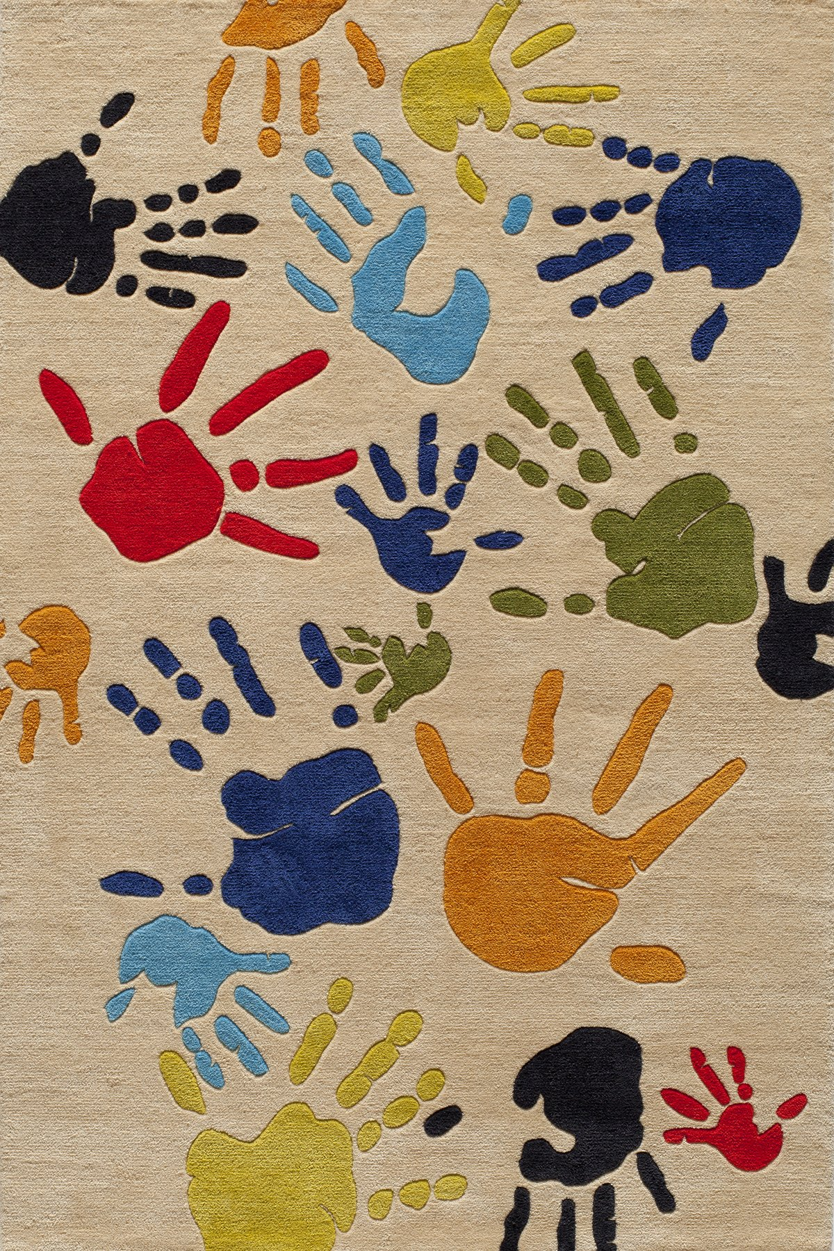 Momeni Rugs LMOJULMJ17IVY4060 Lil' Mo Whimsy Collection, Kids Themed Hand Carved & Tufted Area Rug, 4' x 6', Multicolor Handprints on Ivory