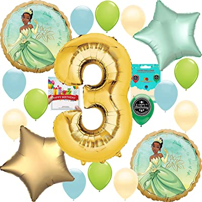Princess and the Frog Tiana Party Supplies Birthday Decoration Balloon Bundle 3rd: Toys & Games