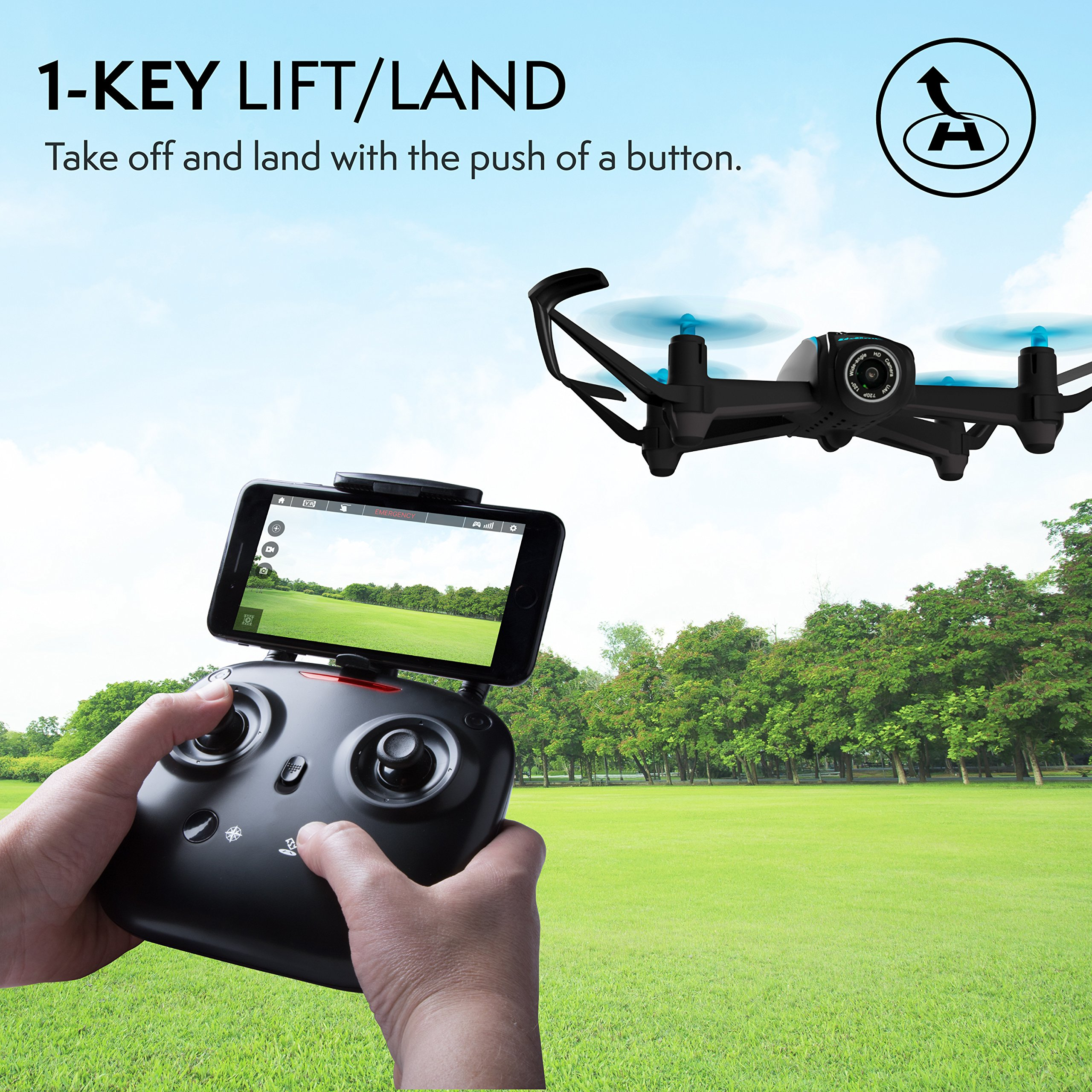 Force1 HD Drone with Camera – RC Camera Drones for Kids & Pros - U34W Dragonfly Drone with Camera Live Video, Altitude Hold & Wi-Fi FPV - Easy to Fly Quadcopter Drones for Beginners by Force1 (Image #4)