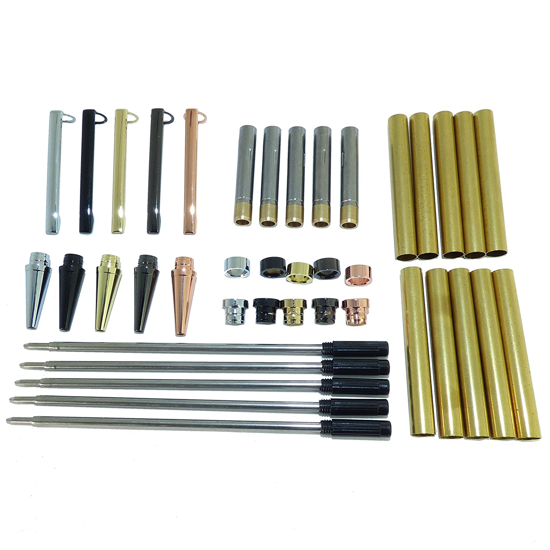 Woodturning Slimline Pen Kit Set Of 5 Mixed Colours Twist Mechanism