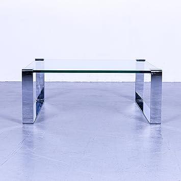 Amazon Com Draenert Klassik Designer Couchtisch Glas Grau Edelstahl