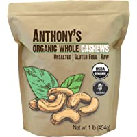 Anthony's Organic Whole Cashews, 1 lb, Raw, Unsalted & Gluten Free