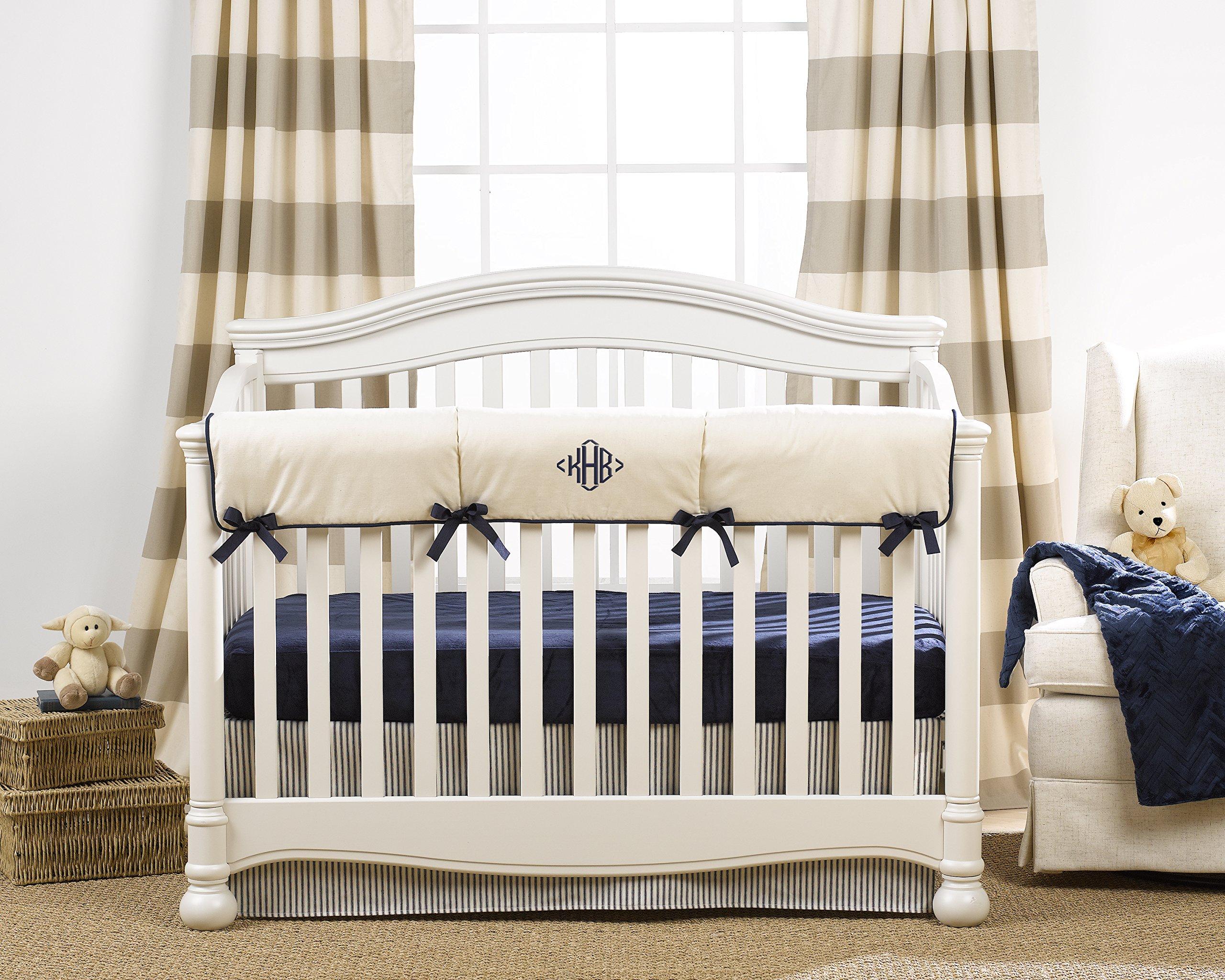 Canvas Crib Rail Cover (Navy Trim)