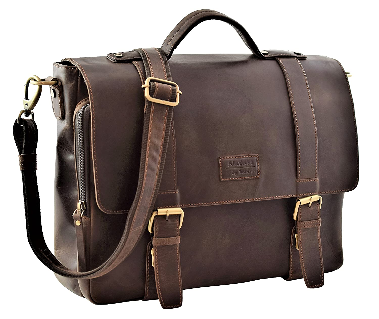Menzo Stanford Aktentasche aus echten Leder für Damen und Herren, Vintage Umhängetasche, Messenger Bag, Lehrertasche (braun) Vintage Umhängetasche MB22deltabraun