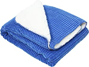 J & M Home Fashions Corduroy Sherpa Fleece Throw Blanket, 50x60, Blue